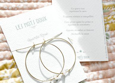 """Bijoux - Créoles Pierre Magique """"Quartz Rose"""" - LES MOTS DOUX"""