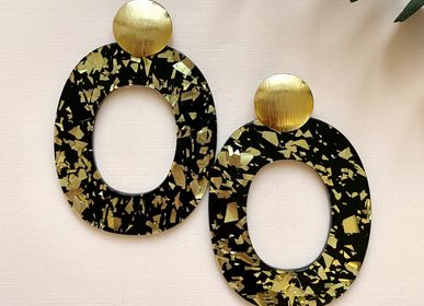 Jewelry - Earrings gilded with fine gold and black glitter acetate. - NAO JEWELS