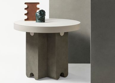 Other tables - OSSICLE LEATHER ROUND SIDE TABLE - GIOBAGNARA