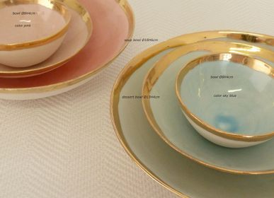 Design objects - GOLDEN EDGE  hand made porcelain bowls and plates - POTOMAK STUDIO