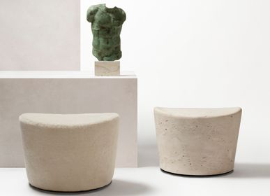 Design objects - PERSEUS SHEARLING / TRAVERTINE POUF - GIOBAGNARA