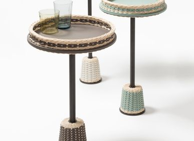 Autres tables  - MATISSE TABLE D'APPOINT EN CUIR ET ROTIN - PIGMENT FRANCE BY GIOBAGNARA