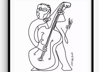"""Coussinstextile - """"Jazz"""" Line Art Edition Limitée - L'ATELIER D'ANGES HEUREUX"""
