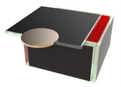 Coffrets et boîtes - Petite boîte à bento carrée, noir et rouge - MYGLASSSTUDIO