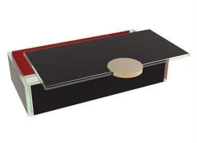 Coffrets et boîtes - Petite boîte à bento rectangulaire, noire et rouge - MYGLASSSTUDIO