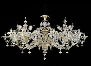 "Hanging lights - REZZONICO Murano Glass Oval ""700 Chandelier - SEGUSO GIANNI"