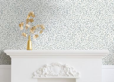 Autres décorations murales - Papier peint Spring Bleu Doré fond blanc - PAPERMINT