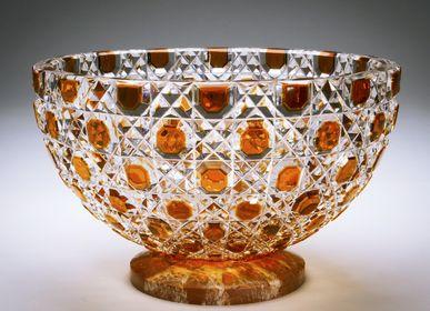 Objets design - Coupe Cristal taillé - amber Diamond Bowl/ Base Onyx - CRISTAL BENITO