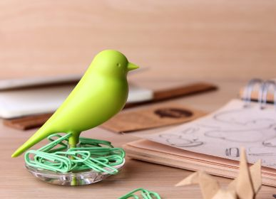 Decorative objects - Nest Sparrow Clips + Holder : Stationery Collection Environmentally Friendly Materials - QUALY DESIGN OFFICIAL
