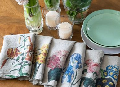 Floral decoration - Printed Washed Linen Napkins │ Garden Flowers - LINOROOM