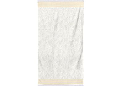 Bath towels - Shower sheet Artea Ecru and Golden Yellow - LA MAISON JEAN-VIER