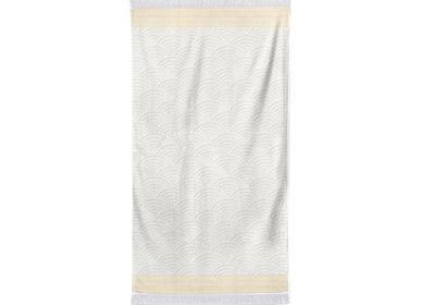 Bath towels - Artea ecru and yellow towel - LA MAISON JEAN-VIER