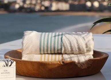 Bath towels - Shower sheet Artea Ecru and Golden Yellow - LA MAISON JEAN-VIER