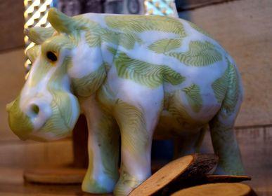 Design objects - CANDLE  HIPPOPOTAMUS GREEN LEAF - KANDHELA