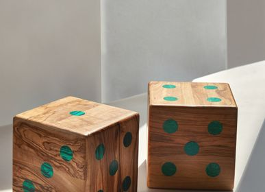 Decorative objects - Medium Olive Wood and Malachite Dice Set - Design Object by Marcela Cure - MARCELA CURE
