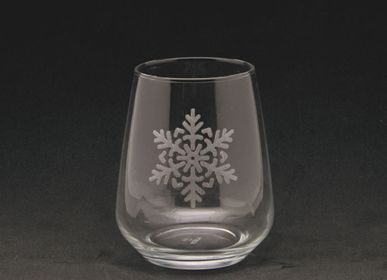 Glass - Water glass large flake decor 47cl - CRÉATIONS LÉONIE'S FRANCE