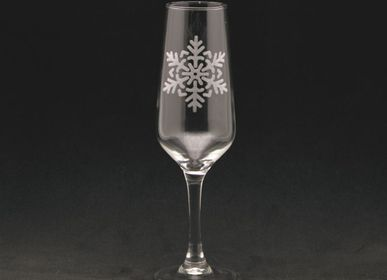 Stemware - Champagne flute flake decoration 17cl - CRÉATIONS LÉONIE'S FRANCE