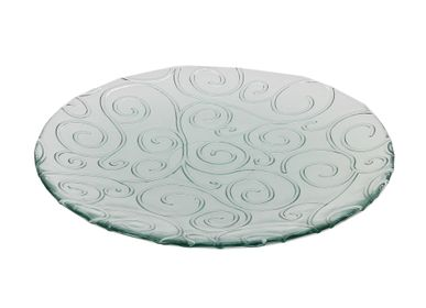 Formal plates - Presentation dish recycled glass scrolls 28cm - CRÉATIONS LÉONIE'S FRANCE