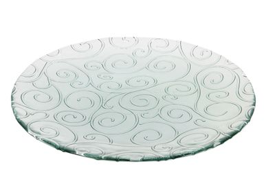 Formal plates - Presentation dish recycled glass scrolls 32cm - CRÉATIONS LÉONIE'S FRANCE