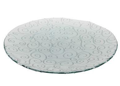 Formal plates - Presentation dish recycled glass scrolls 48cm - CRÉATIONS LÉONIE'S FRANCE