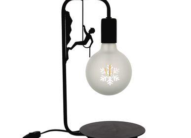 Lampes à poser - Pack : lampe à poser noire alpiniste + ampoule led flocon - CRÉATIONS LÉONIE'S FRANCE