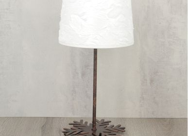 Blinds - Cylindrical lampshade white fur relief short pile diameter 20cm - CRÉATIONS LÉONIE'S FRANCE