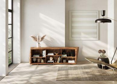 Sideboards - Asymmetric low bookcase in English walnut - JONATHAN FIELD