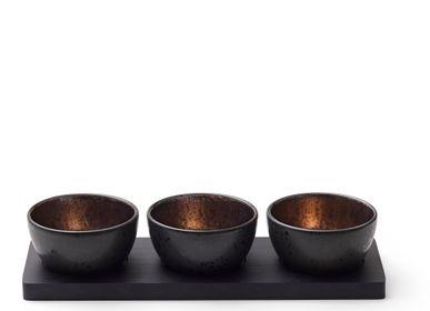 Platter and bowls - Cabaret set 4 pcs. Black/Bronze - BITZ