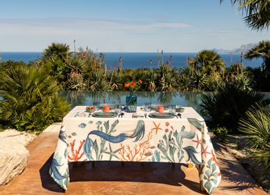 Table cloths - Sirene Linen Tablecloth - THE NAPKING  BY BELLAVIA HOME