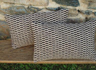 Fabric cushions - BLACK GRAIN CUSHION - LA TISSERIE