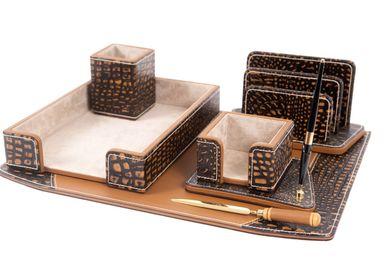 Sets de bureaux - SET DE BUREAU EN CUIR ADAN  MARRON CAMEL - GLADYS