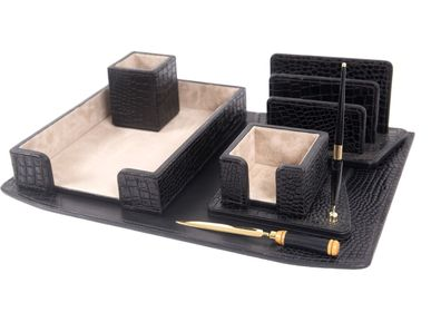Office sets - BLACK ADAN LEATHER DESK SET - GLADYS