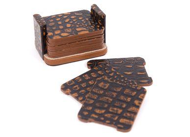 Objets design - Sous-tasses en cuir aspect croco ADAN - GLADYS