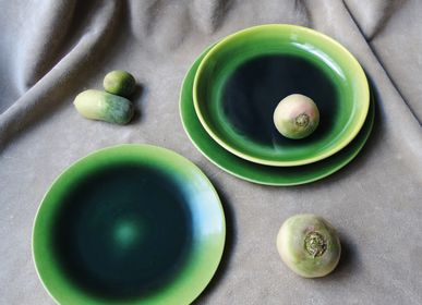 Ceramic - DEEP PLATE WITH EFFECT ENAMELS - NEPTUNE - VIREBENT
