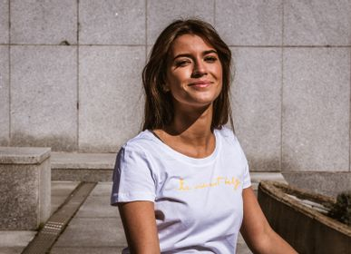 Prêt-à-porter - T-shirt Femme Blanc - LA VIE EST BELGE