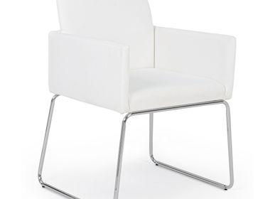 Chairs - SIXTY WHITE PU CHAIR W-ARM - BIZZOTTO