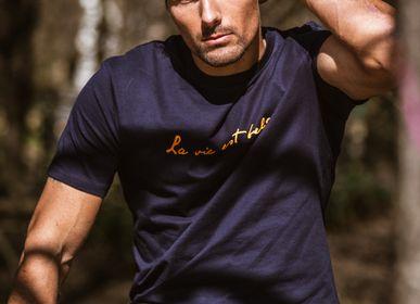 Prêt-à-porter - T-shirt bleu marine pour homme  - LA VIE EST BELGE