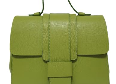 Leather goods - Apple green leather bag with straps and shoulder strap made in Italy - L'OFFICIEL SRL
