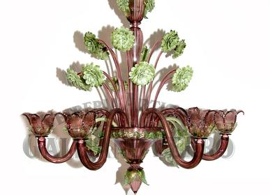 Suspensions - Lustre de Murano améthyste, vert et feuille d'or 24 carats décors - GALLIANO FERRO