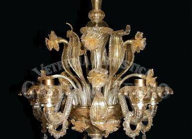 Suspensions - Lustre Rezzonico cristal or verre de Murano, feuille d'or 24kt décors - GALLIANO FERRO