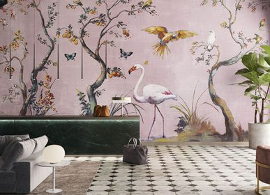 Wallpaper - Custom Ibis Rose Birds Wallpaper - LA MAISON MURAEM