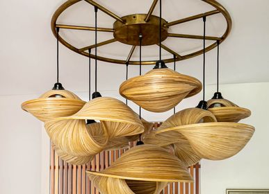 Ceiling lights - Round bronze chandeliers handmade VERSA and OBORRO - BAMBUSA BALI