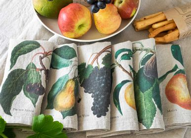 Table linen - Washed Linen Napkins 6-set ǀ Fruits - LINOROOM