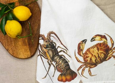 Christmas table settings - Crab & Lobster ǀ 100% Linen Kitchen Towels  - LINOROOM