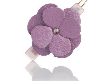 Hair accessories - Leather flower stem ball barrette ZAIRA - VALÉRIE VALENTINE