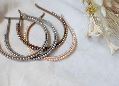 Hair accessories - Narrow leather & Swarovski® pearls hairband SUZAN - VALÉRIE VALENTINE