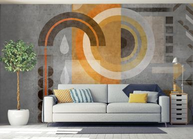 Wallpaper - Wall and Orange Circles Wallpaper Mural - INCREATION