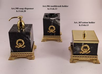 Soap dishes - Bathroom set in marble/wood and bronze plated - OLYMPUS BRASS