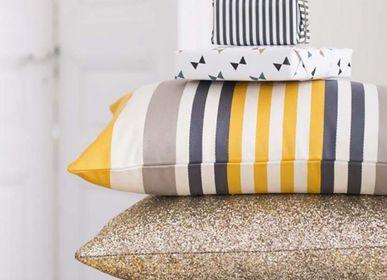 Fabric cushions - Ainhoa Gold Cotton Cushion Cover - LA MAISON JEAN-VIER