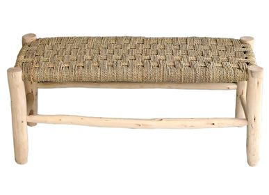 Benches - Wood and palm fiber benches - LA MAISON DE LILO